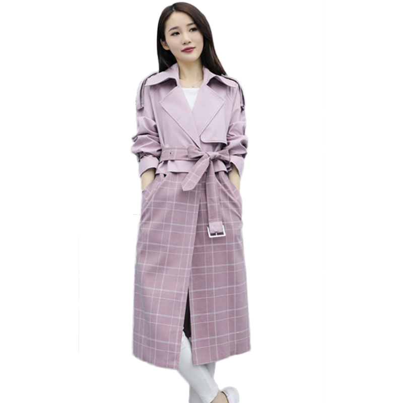 Women Classic Solid Long   Trench   Coat Female Cardigan Patchwork Plaid   Trench   coat England Style Turn-down Collar Outerwear