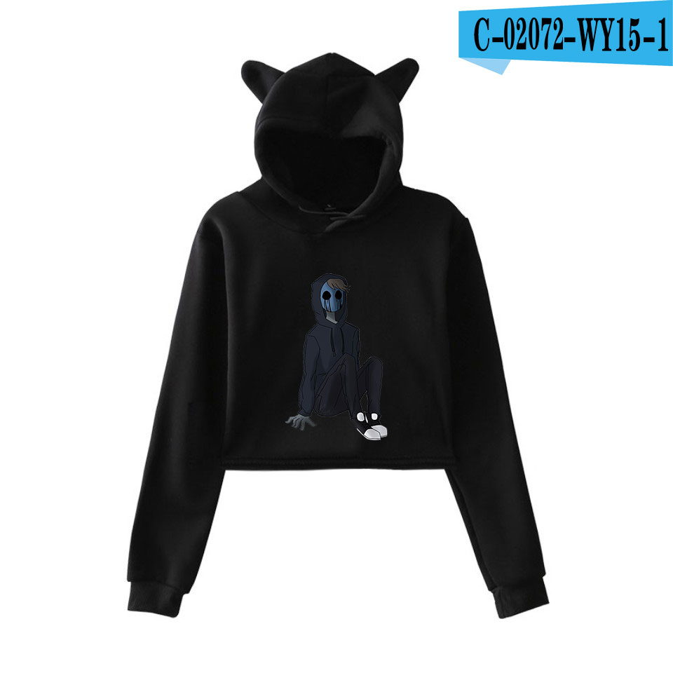 unique horror atmosphere of black humor creepypasta  print fashion trend Cat ears Top Women Hoodies Sweatshirt Sexy clothes 16