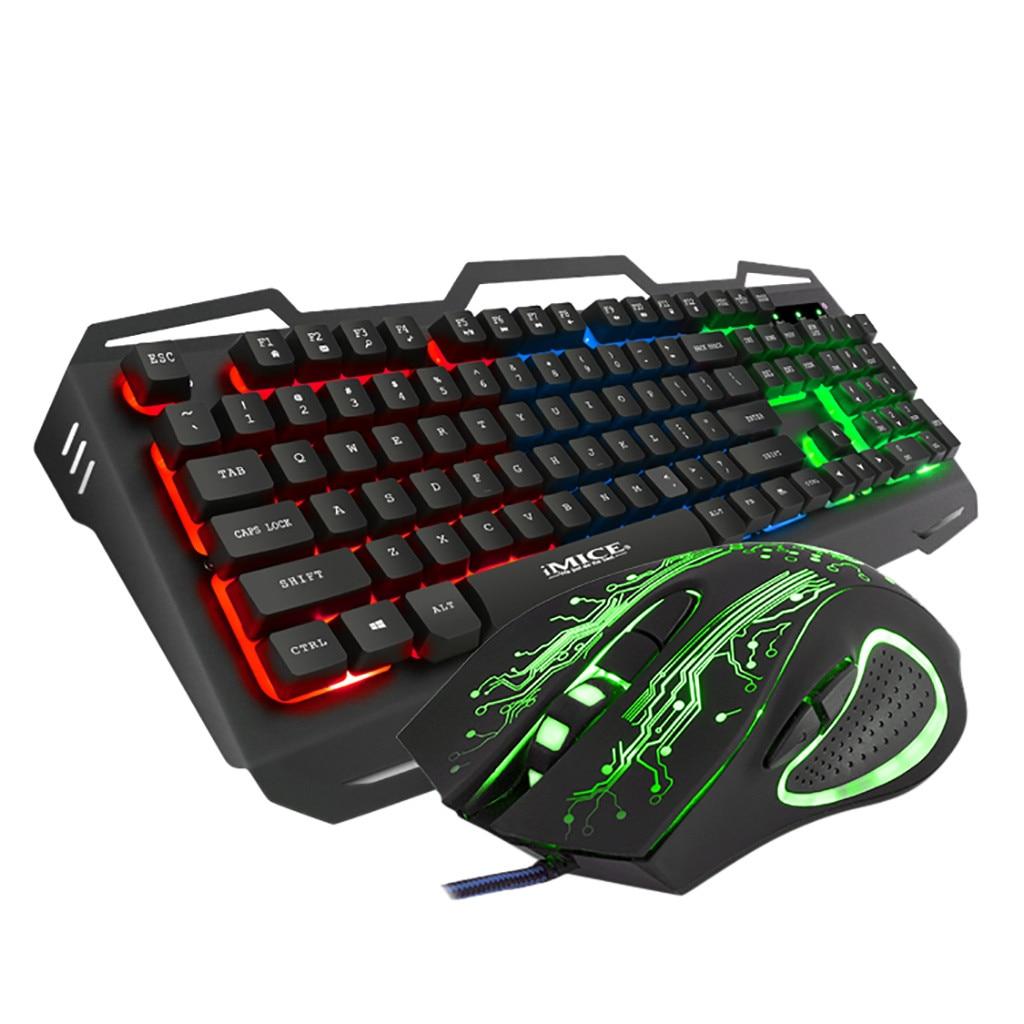 KM690 104 Keys Keyboard Wireless Colorful Crack LED Illuminated Backlit USB Wired Rainbow Gaming Keyboard And 2400DPI Mouse Mice