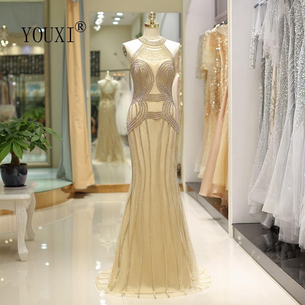 US $18.18 18% OFFYOUXI Gorgeous Mermaid Evening Dress 18 Gold Crystal  Beading Abendkleider Lang Formal Gown on AliExpress