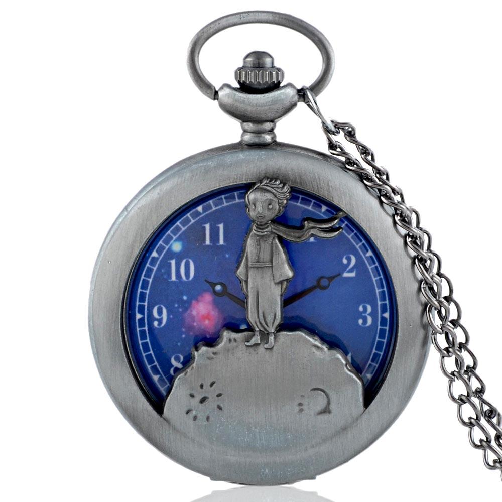 New Arrivals Vintage Gray Little Prince  Quartz Pocket Watch With Chain Retro Men Women Classic Pendant Necklace Clock Gift