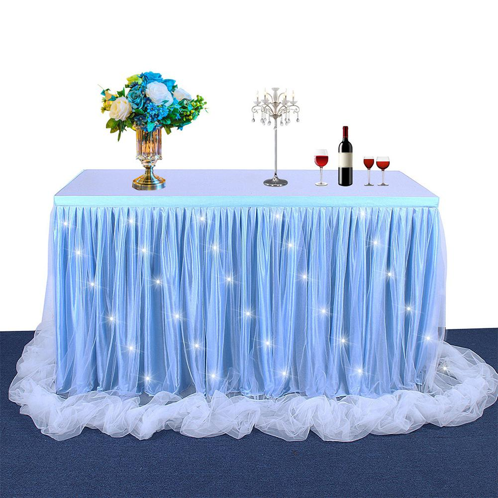 Thread Ribbon Table Skirt With LED Light Multi-color Gauze Table Cloth Skirting Tutu Tulle For Wedding Party Birthday Decoration