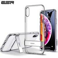 ESR per il Caso di iPhone XS XR XS Max Metallo Caso Cavalletto Verticale e Orizzontale Del Basamento Molle Del Respingente di TPU Trasparente Della Copertura per il iPhone