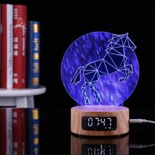 Multi-function 3D Novelty Digital LED Alarm Clock Night Light USB Lamp Colorful Audio Bluetooth Speaker Projection With Gift Box