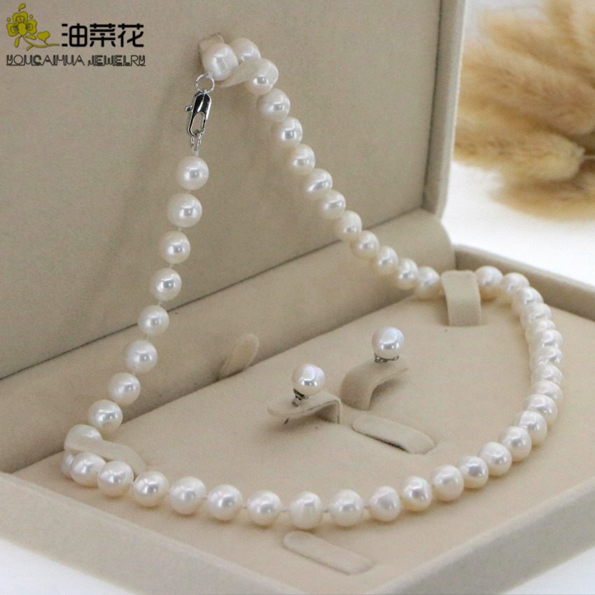"""Beautiful 8-9mm White Akoya Pearl Necklace Earring 17.5"""" Wedding Jewelry Sets for Women In Jewelry Sets Gift Wholesale 1"""