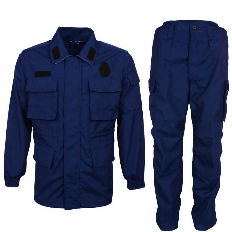 紺陸軍戦闘トレーニング服冬夏長袖耐久力のある軍服屋外フィールド戦術的なジャケットパンツ