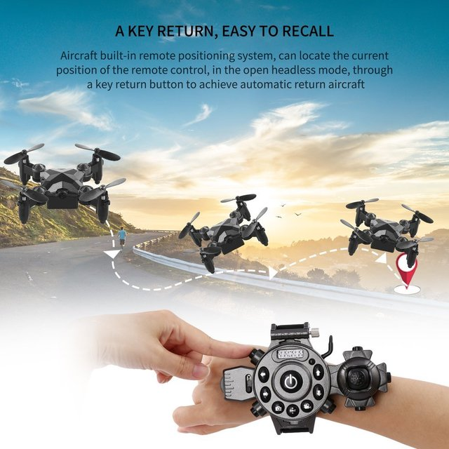 2019 New Portable Remote Control Watch Style 2.4G 0.3MP Wifi Mini Foldable Height Hold G-sensor FPV Drone Quadcopter 1