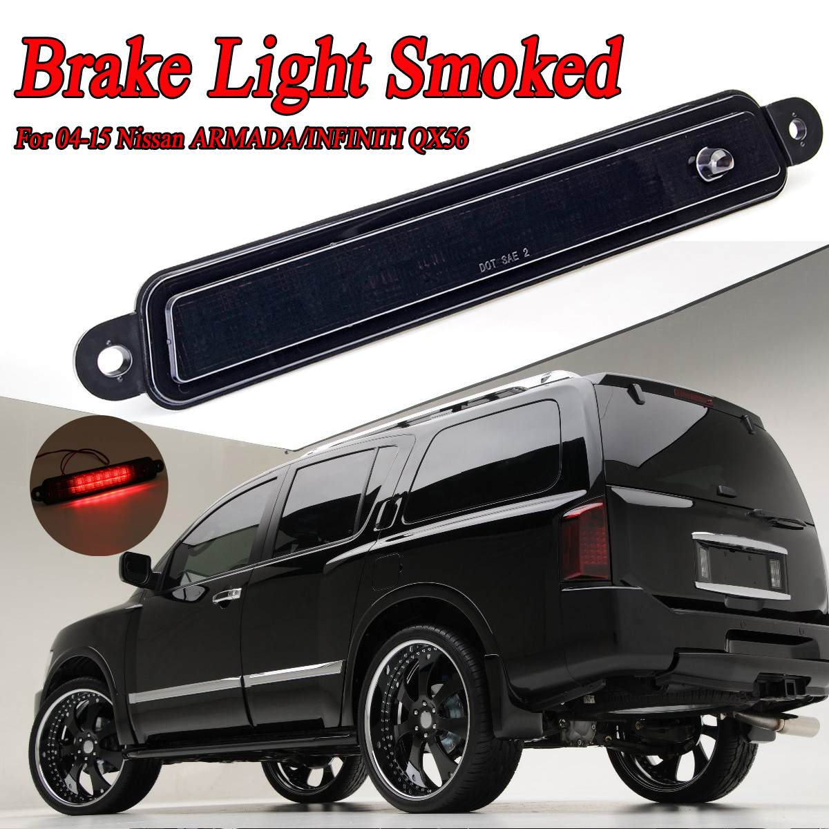 High Mount Led 3Rd Brake Light For Nissan For Armada 2005-2015 Pathfinder For Armada 2004 For Infiniti QX56 2004-2010 Smoke