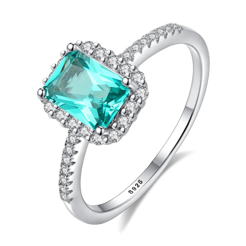 Fenchen pur 925 argent Sterling bagues de fiançailles de mariage pour les femmes classique vert émeraude Bague Femme bijoux fins cadeau AR127
