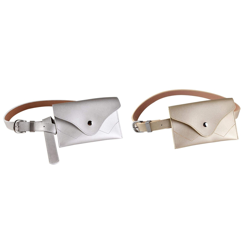 2Pcs Women Fanny Pack, PU Leather Fanny Pack With Removable Belt Waist Pouch Fashion Girls Belt Bum Fanny Bag Silver & Gold