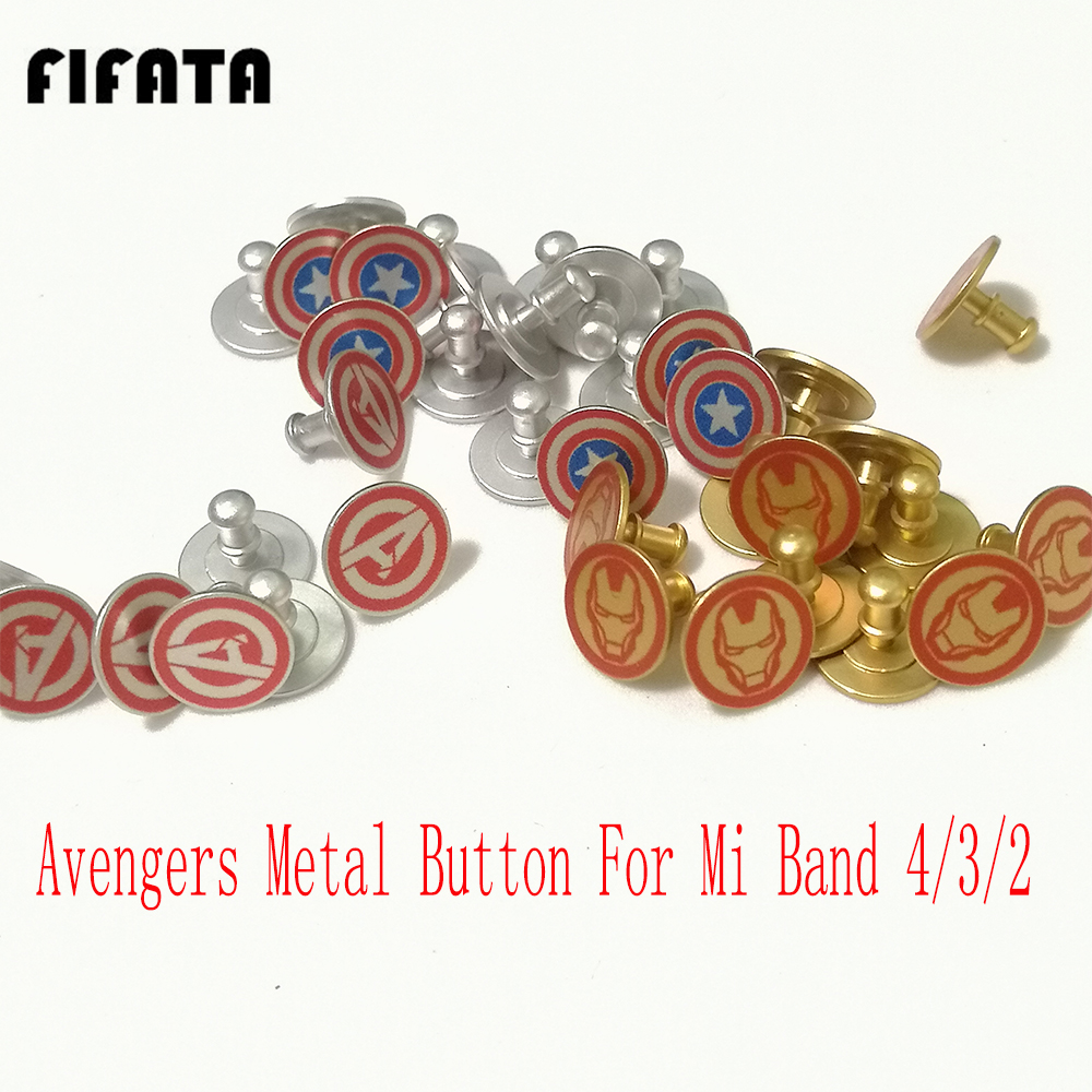 FIFATA The Avengers Metal Button For Xiaomi Mi Band 4 Strap Pattern Button For Mi Band 4/3/2 Smart Watch Limited Edition Button