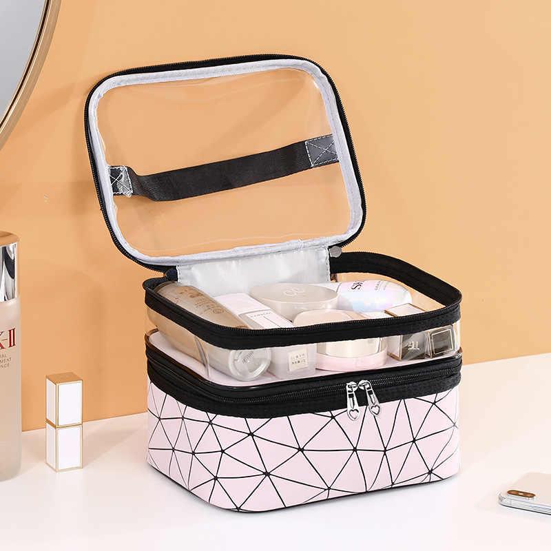 Vrouwen Dubbele Laag Cosmetische Bag PU Make up Organizer Tassen Reizen Waterdichte Toilettas Opslag Pouch Schoonheidsspecialiste Make Gevallen Doos