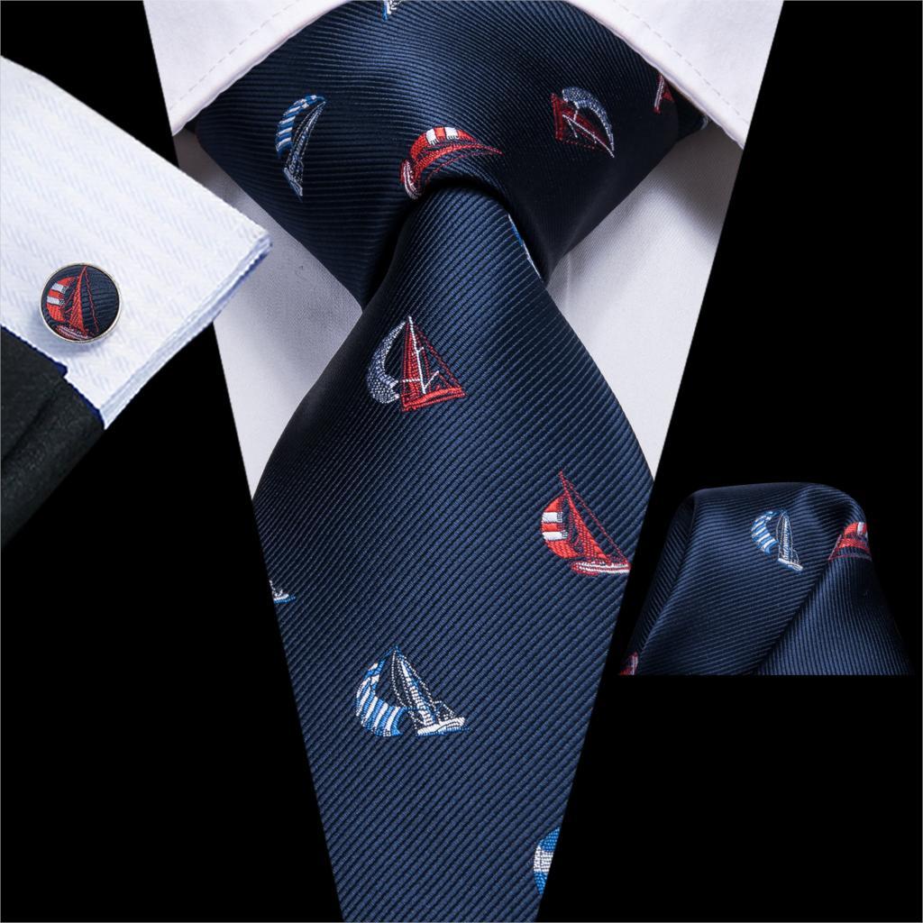 Hi-Tie Blue Tie For Men Novelty Ties Cartoon Boat Necktie Set Designer Cravat For Wedding Party New Style Tie C-3255 Wholesale