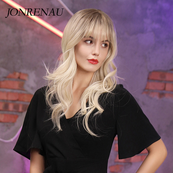 JONRENAU 24 inches 9 Colors Long Brown Root Ombre Blonde Wig Synthetic Natural Wave Wigs with Bangs for Black/White Women 3