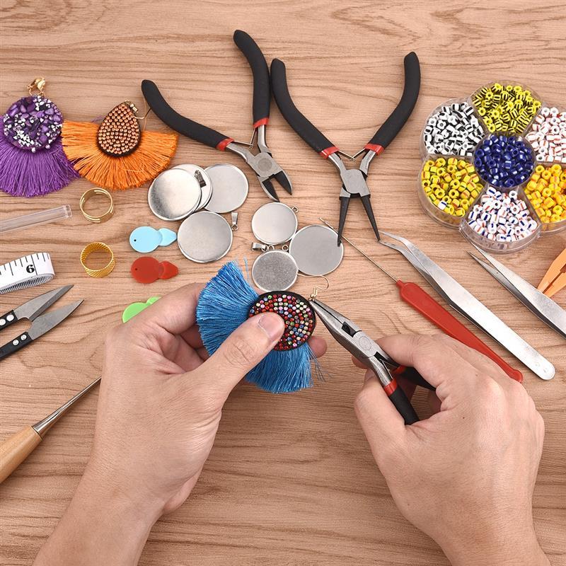 21pcs DIY Jewelry Making Kit Pliers Jewelry Tools Set Flat Nose Pliers Wire Cutter Pliers Rings Scissor Beading Needles Tweezer 3