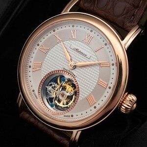 Image 1 - ספיר חיוג Mens Tourbillon שעונים מקורי ST8000 תנועה תנין עור גברים מכאני שעון יד למעלה מותג