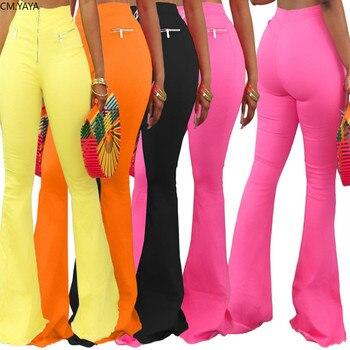 CM.YAYA-pantalones acampanados de pierna ancha para mujer, mallas de cintura alta, drapeados, con cremallera, Estilo Vintage, sudaderas pantalones para trotar