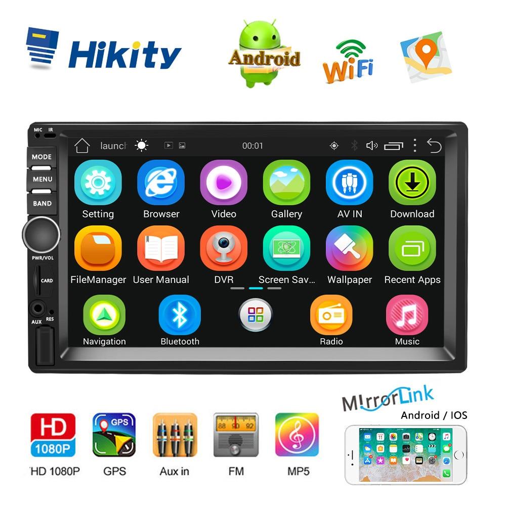 Hikity 7 ''Android Autoradio GPS Navigation 2 Din universel RDS voiture lecteur multimédia miroir lien Autoradio Support caméra