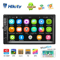 Hikity 7'' Android Car Radio GPS Navigation 2 Din Universal RDS Car Multimedia Player Mirror Link Autoradio Support Camera