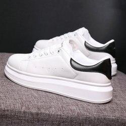 Мужская повседневная обувь, Размеры 35-44, осенние мужские кроссовки из дышащей искусственной кожи на платформе, белые, мягкая мужская обувь, ...