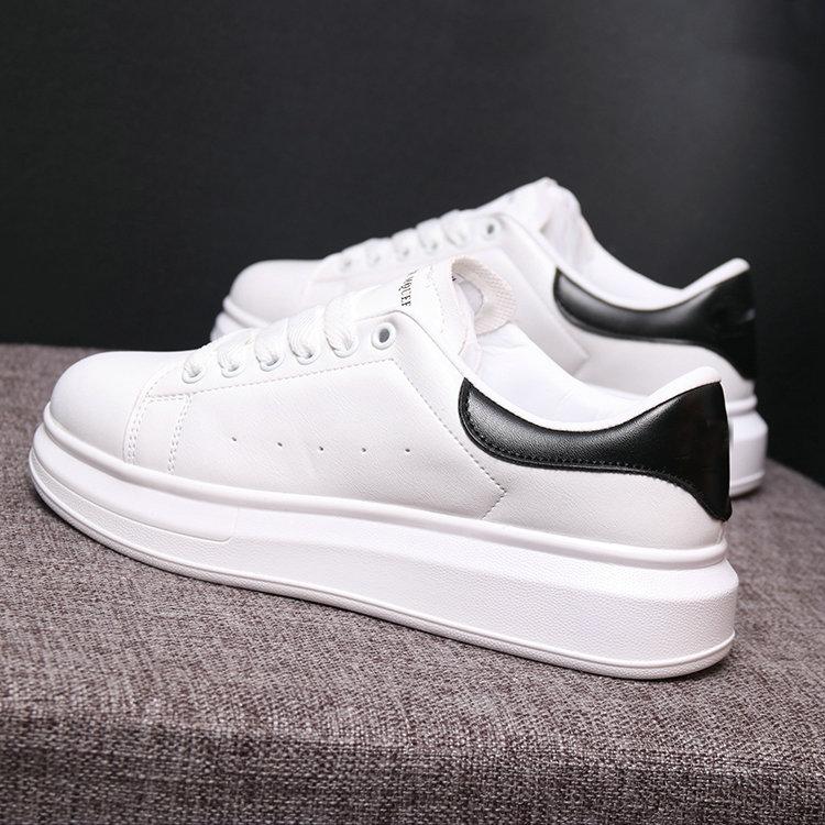 Size 35-44 Men Casual Shoes 2019 Autumn Men Sneakers Fashion Breathable PU Leather Platform White Men Shoes Soft Footwears