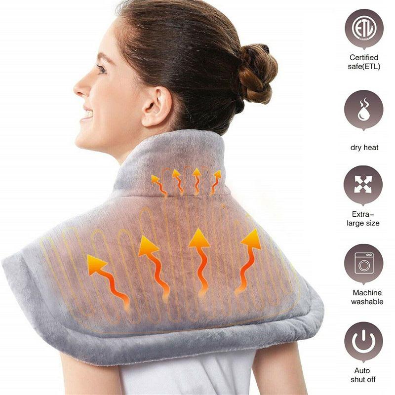 Grande aquecimento elétrico almofada de aquecimento cobertor portátil ombro pescoço volta aquecimento xale envoltório alívio da dor controlador temperatura