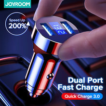 Joyroom Metal Car Charger USB Quick Charge 4.0 QC3.0 18W Dual Port Fast Charging LED Car Phone Charger For iPhone Samsung Huawei