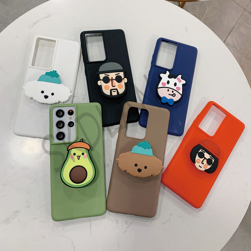 For Samsung S21 Note 20 Ultra A12 A52 A02s 3D DIY Cute Silicone Cartoon Phone Case For Samsung S21 M31s Holder Stand Phone Cover