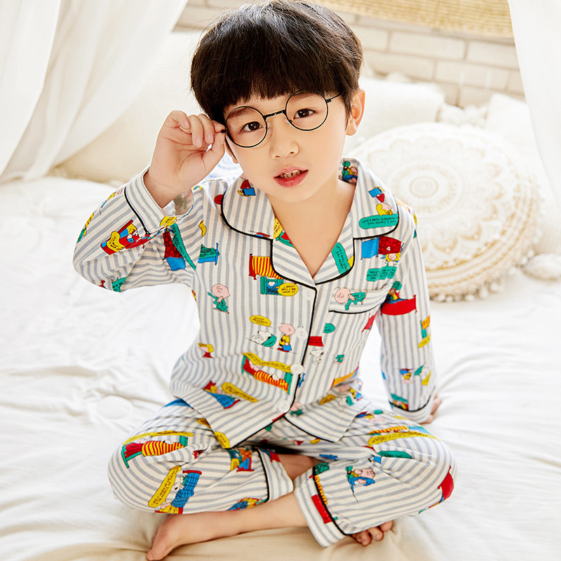 Comfortable Children Snoopy Cartoon Cute Pajamas Boys And Girls 2020 Spring And Autumn Long Sleeve Lapel Cardigan Cotton Pajamas