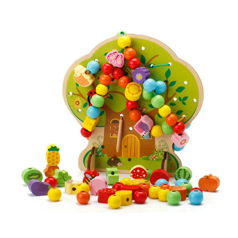 100PCS Wooden Creative Beads DIY Toys Cartoon's Home Wearing A Rope Games, Toys For Children, Kids Jewelery Making Utilities Toy
