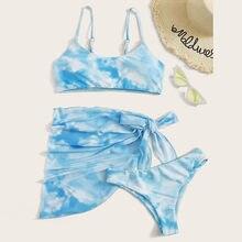 Yüksek kaliteli Bikini plaj kumlu plaj mayo kadın Bikini baskı seti mayo üç parçalı dolu sütyen mayo Beachwear #35