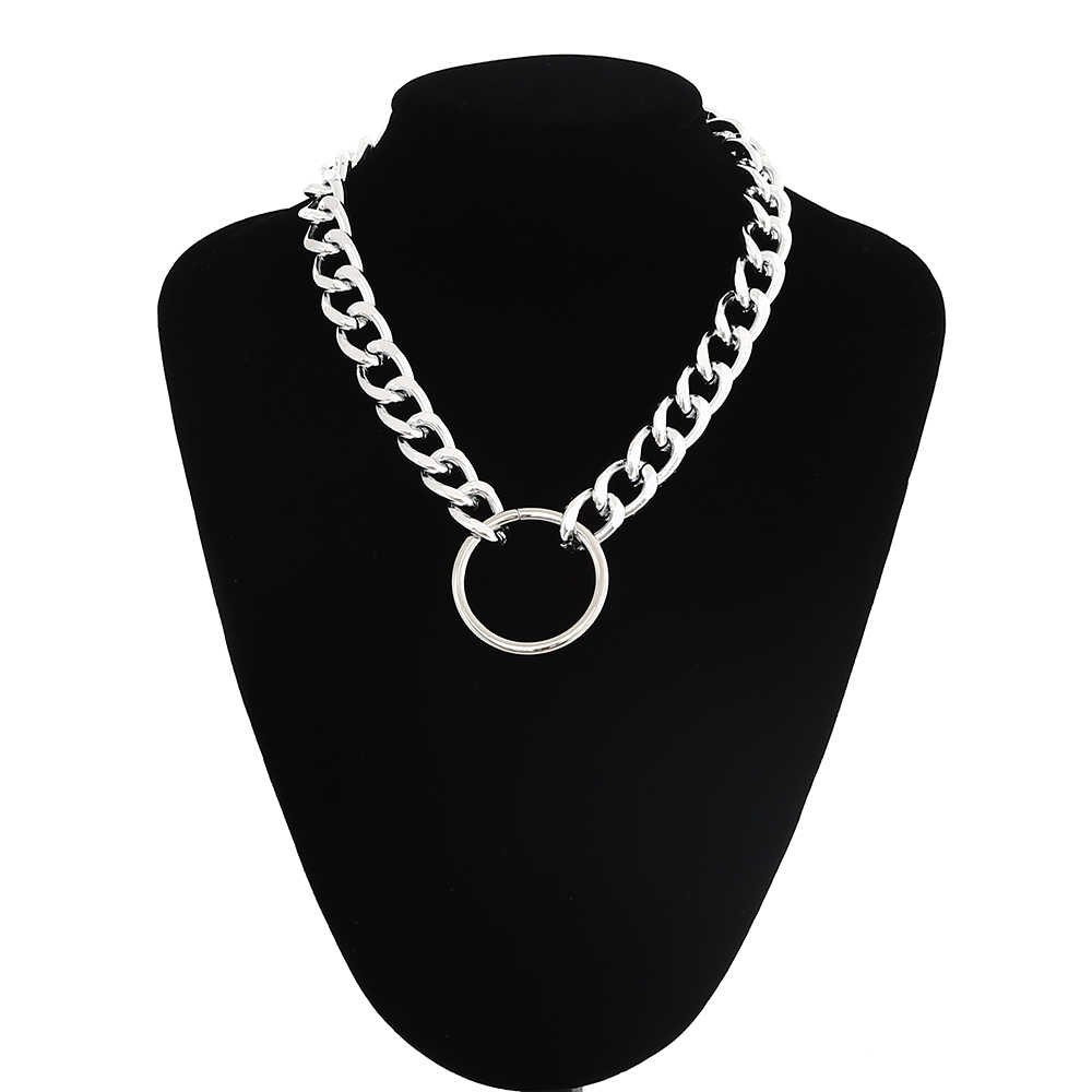 Statement chunky chain choker necklace punk goth Grunge Silver metal Fashion Necklace women men trendy  jewelry