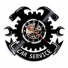 Car Service Wall Clock  Garage Tools Tire Wrench Modern Design Mechanic  Led Watch Vinyl Record  Vintage Hanging Mute Quartz