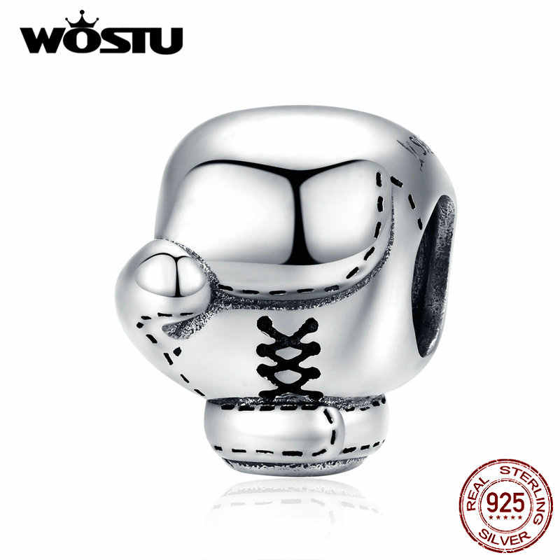 WOSTU אמיתי 925 סטרלינג כסף אגרוף כפפות חרוזים קסמי Fit מקורי צמיד תליון לנשים גברים תכשיטים DXC1325