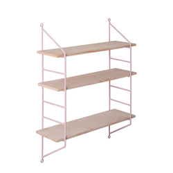 Nordic 3 Tier Metal Wall Shelf Wall Decor Shelf Kids Room Wooden Hanging Shelf Wall Display Rack DIY Wall Decoration Holder Pink