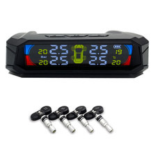 цена на Tire Pressure Gauge Solar Color LCD TPMS Wireless Car Tire Pressure Temperature Monitoring System With Sensors Car Alarm System
