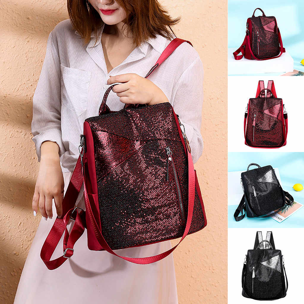 Women's Leather Backpack Fashion Sequin Waterproof  Trave Bag for woman Casual Anti-Theft Shoulder Bag Leisure Backpack school