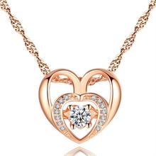 AAA Cubic Zircon Love Heart Charm Necklace for Women Rose Gold Color Chain Heart Choker Necklace Small Pendant Jewelry for Girl rose gold color love heart knot pendant necklace for women small heart charm pendant choker necklace girls jewelry 2020 new
