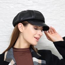 Echtes Leder Baskenmütze Hut Winter Frühling Hüte Für Frauen Maler Zeitungsjunge Mütze Vintage Baskenmütze Weibliche Schwarz Boinas England Stil Hut
