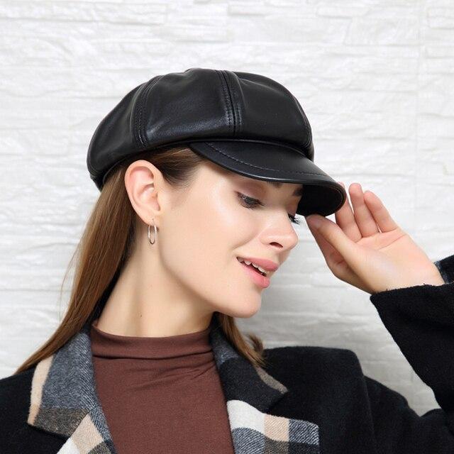 Prawdziwej skóry Beret kapelusz zima wiosna kapelusze dla kobiet malarz czapka gazeciarza Vintage Beret kobieta czarny Boinas styl angielski kapelusz
