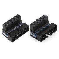 Snel Opladen Plug Converter Boek Power Adapter Connector Usb 3.0 20 Pin Man-vrouw Extension Adapter 90 Graden Schuine