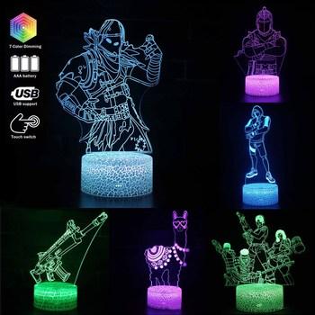 Fortnite LED lampka nocna 3D Illusion tabeli lampa zdalnie sterowana kolorowe oświetlenie dekoracja sypialni Anime zabawki dla dzieci prezent urodzinowy tanie i dobre opinie Acrylic CN (pochodzenie) 0-12 MIESIĘCY 13-24 miesiące 2-4 lata 5-7 lat 8-11 lat 12-15 lat STARSZE DZIECI Unisex