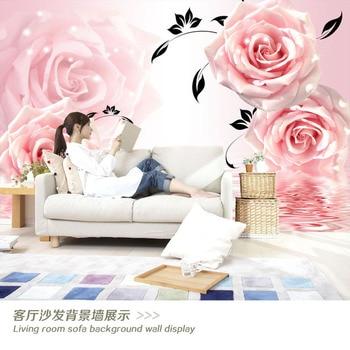 3D Waterproof Large Mural Living Room Sofa TV Backdrop Wallpaper Nonwoven Fabric Rose