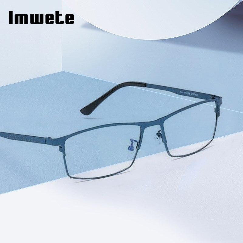 Imwete Bussiness Glasses Frame Men Metal Anti Blue Rays Computer Eyeglasses Goggles Radiation Resistant Optical Eyewear