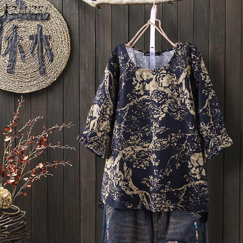 2020 Summer Cotton Linen Tops ZANZEA Vintage Floral Printed 3/4 Sleeve Blouse Women Shirt Blusas Robe Femme Casual Tunic Tops