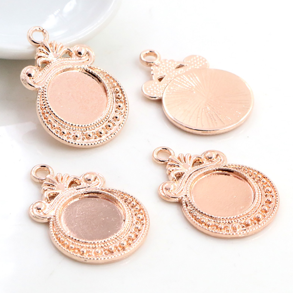 16pcs 12mm Inner Size Rose Gold Plated Fashion Flower Style Cabochon Base Cameo Setting Charms Pendant (A7-34)