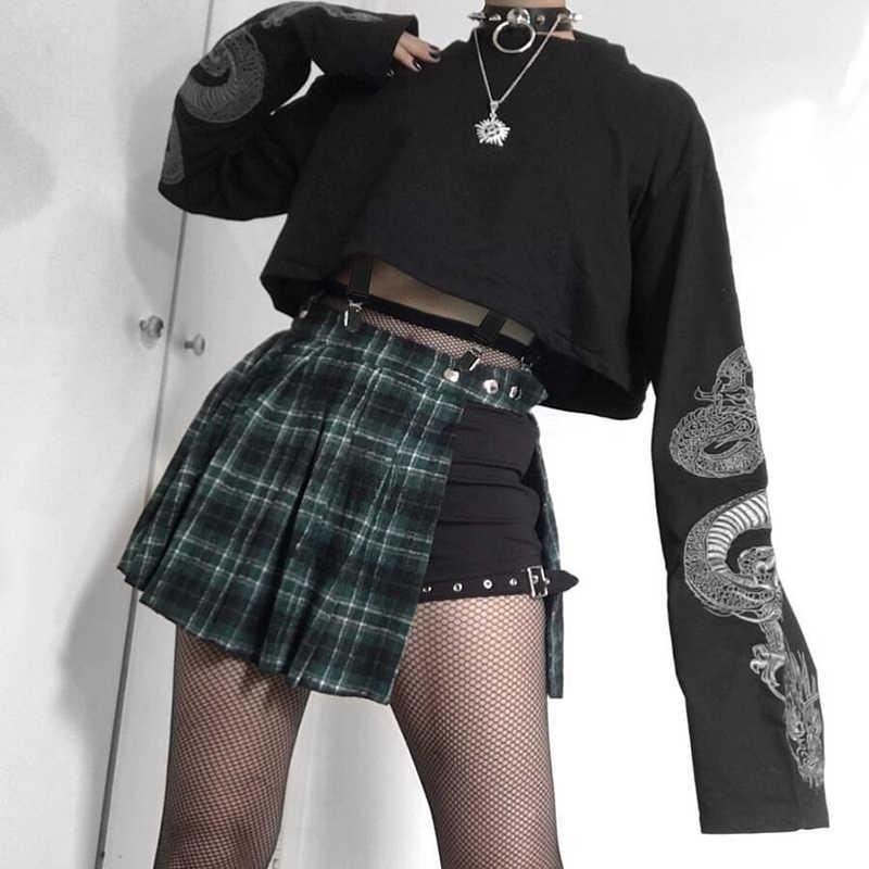 Sweetown 2019 jesienna bluza w stylu crop nadruk ze smokiem z długim rękawem koreańska modna sweter czarna Casual Gothic Streetwear bluzy
