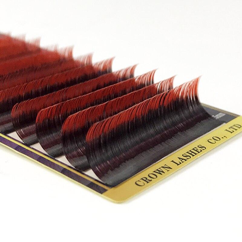 crownlash russo volum lash extensao b c d 0 07 7 15mm cor dupla vermelho ombre