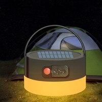 Luz LED Solar portátil para acampar, linterna recargable por USB, Mini lámpara colgante para tienda, luz de emergencia impermeable para exteriores