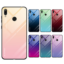 Gradient Tempered Glass Phone Case For Huawei Honor 7C 7A Pro 7 A Y5 Y6 Prime 2018 Y7 Pro 2019 Protective Case Back Cover Coque(China)
